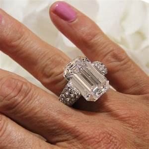 2235 carat emerald cut diamond ring with emeralds de With the biggest wedding ring