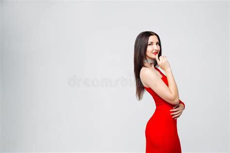 Seductive Brunette Woman In Glamorous Lingerie Stock