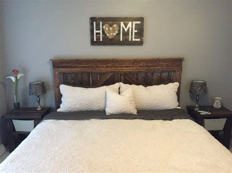 bedroom farmhouse bed home sign bedside tables