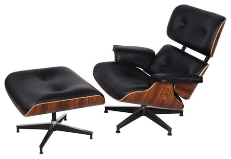 modern accent chair and ottoman eaze lounge chair ottoman black leather and palisander