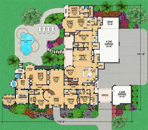 European House Plan   6 Bedrooms, 6 Bath, 14814 Sq Ft Plan