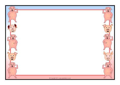 pig themed  page borders sb sparklebox