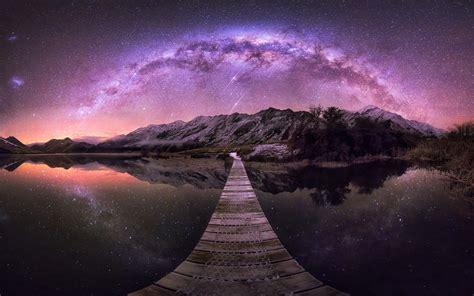 Wallpaper Landscape Mountains Galaxy Lake Nature