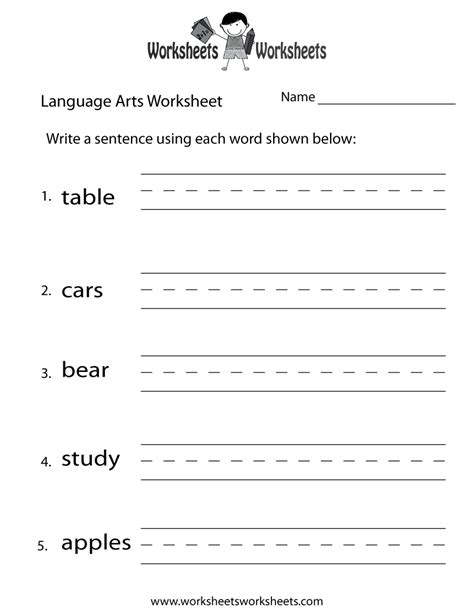language arts worksheet free printable educational