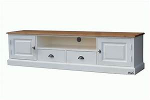 Meuble Bois Et Blanc : meuble tv en pin massif blanc ~ Teatrodelosmanantiales.com Idées de Décoration