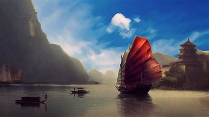 Asia Ship Scenery Asian Wallpapers Landscape Japanese