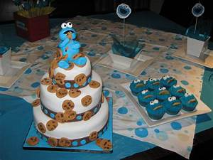 Cookie Monster 3 Tiered Cake - CakeCentral com