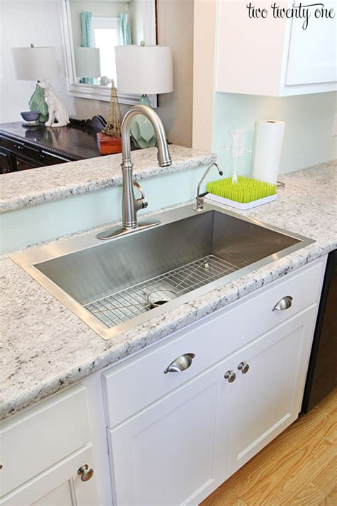 farmhouse sink with laminate countertops kitchen cabinet makeover reveal laminate countertops