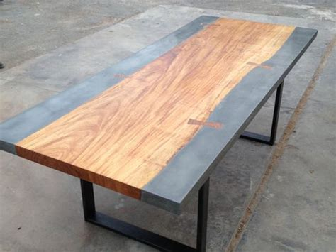 custom concrete  exotic wood dining conference table
