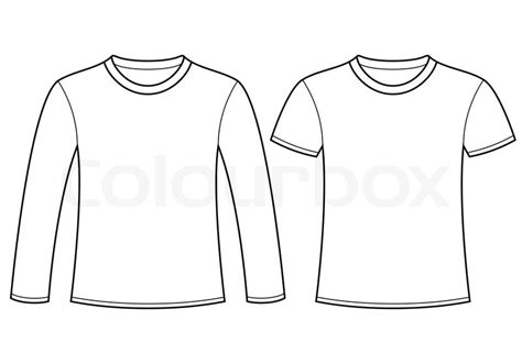 Sleeve Shirt Template Sleeved T Shirt And T Shirt Template Stock Vector