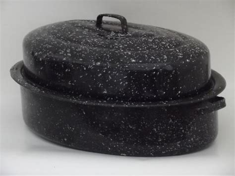 fashioned graniteware turkey roaster large chicken roasting pan