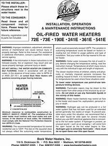 Bock Water Heaters 241e Users Manual 23400