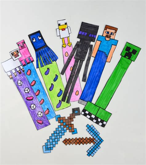 Minecraft Bookmarks  Free Colouring Pages