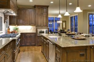 pictures of kitchens traditional wood walnut color kitchen 9