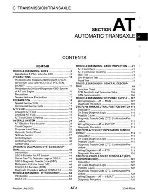 on board diagnostic system 1997 nissan sentra seat position control 2006 nissan altima automatic transmission section at pdf manual 708 pages
