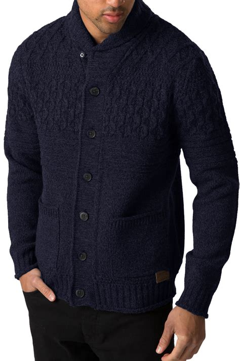 mens chunky knit sweater threadbare mens knitted cardigan lille button up chunky