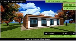 Maison Architecte Plain Pied : maison cubique cube ou carree en ossature bois par votre architecte constructeur plans permis ~ Melissatoandfro.com Idées de Décoration