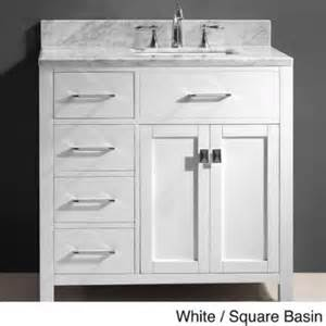 virtu usa caroline parkway 36 inch single sink bathroom vanity set left side drawers w white