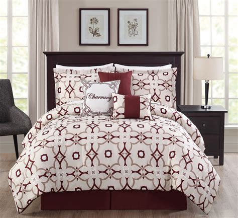 7 piece charming taupe burgundy ivory print comforter set