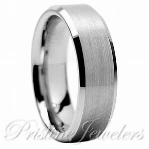 Tungsten Carbide Wedding Band Ring Brushed Silver Mens