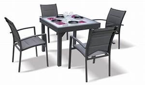 Salon De Jardin Textilene : salon de jardin modulo gris 4 personnes table extensible ~ Dailycaller-alerts.com Idées de Décoration