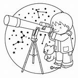 Telescope Coloring Pages Viendo sketch template