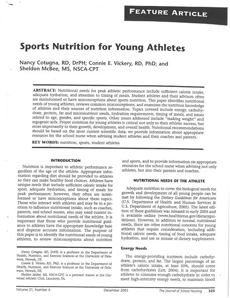 sports nutrition  young athletes