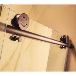 republic trident mocha 76 quot x 56 60 quot frameless sliding rubbed bronze shower door