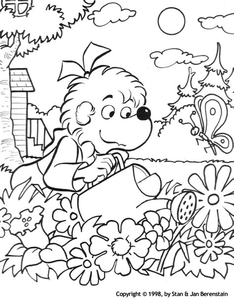 coloring activity pages sister bear watering  garden