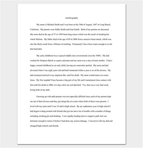 autobiography outline template  examples  formats