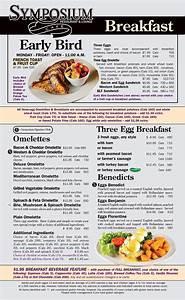 Breakfast & Brunch menu at Symposium Cafe Restaurants