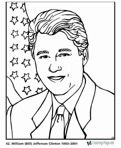 Coloring Presidents Pages Clinton Bill President Bush