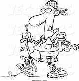 Hiking Cartoon Hiker Coloring Pages Vector Walking Outline Obstacle Boots Tiny Leishman Ron Getcolorings Printable Colorin sketch template