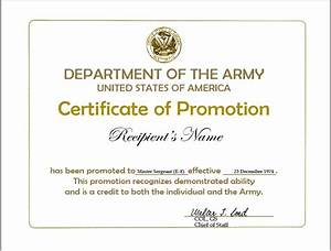 army promotion certificate template elioleracom With army promotion certificate template
