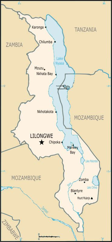 Clipart - Map of Malawi