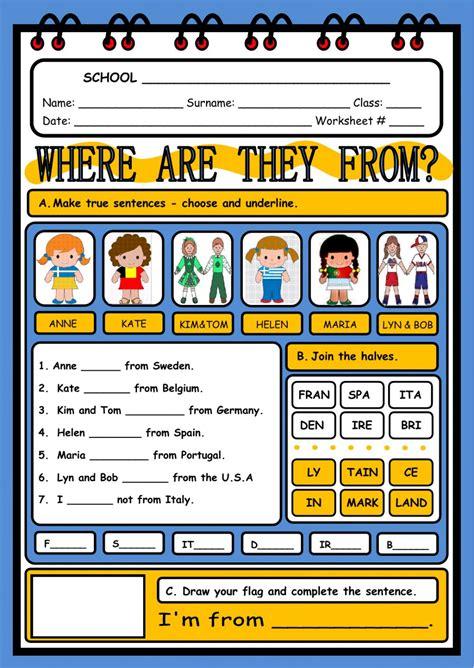 countries  nationalities interactive worksheet