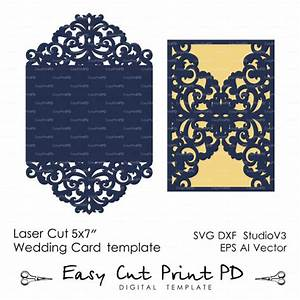 wedding invitation pattern card template lace folds With diy wedding invitations silhouette cameo