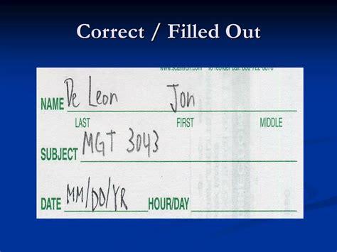correctly fill   par score form