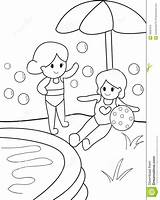 Coloring Swimming Pool Kid Pages Drawing Template Getdrawings Preview sketch template