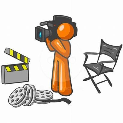 Clipart Reporter Broadcast Clip Stage Camera Orange