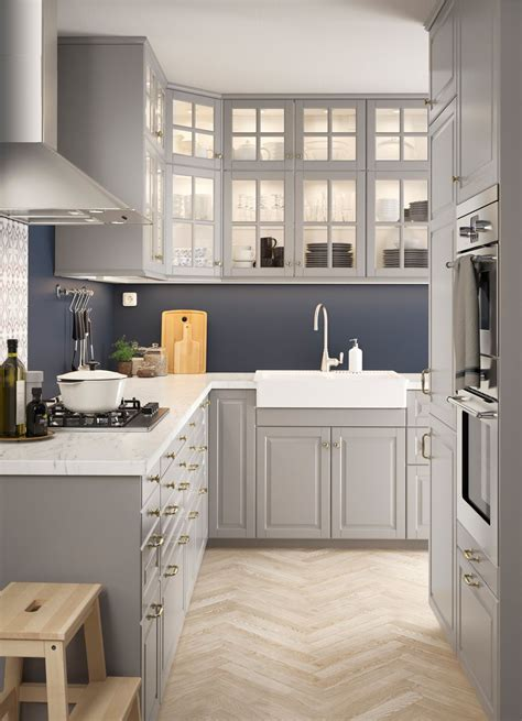 ikea metod oberschrank l shaped kitchen with traditional wall and base cabinets with grey doors and glass doors