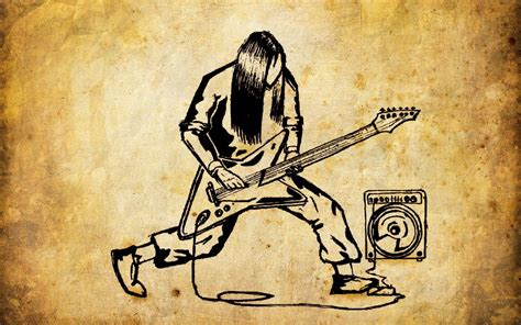 Music Notes Desktop Wallpaper Cartoon Metal Guitarist Wallpapers 1680x1050 1091239
