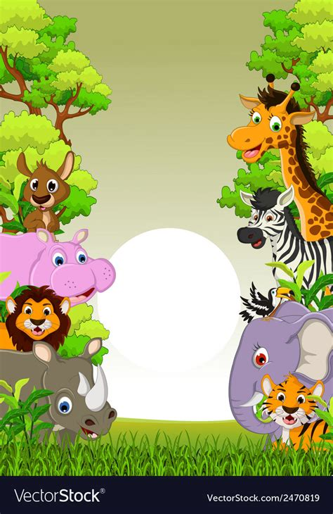 animal cartoon  tropical forest background vector image