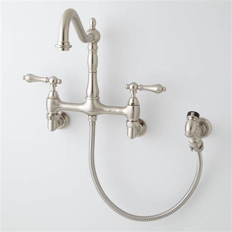 kitchen wall mount faucet felicity wall mount kitchen faucet with side spray