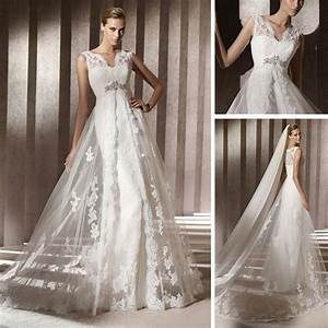 Modern design lace casual beach spanish style front slit for Casual lace wedding dress
