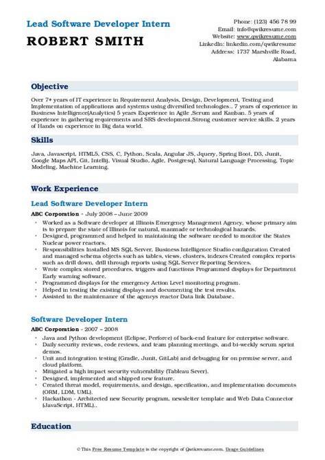 software developer intern resume samples qwikresume