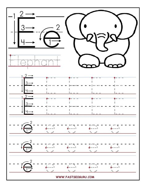 printable letter e tracing worksheets for preschool 443 | 029c14d440409331428820ccfb23b813