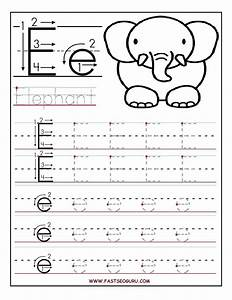 printable letter e tracing worksheets for preschool With preschool letter writing