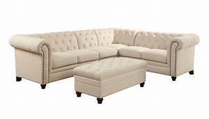 Coaster roy button tufted sectional sofa with armless for Roy button tufted sectional sofa with armless chair