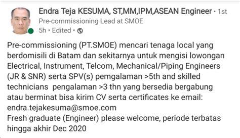 (62) 778 711 420 / (62) 778 711 223 fax: PT. SMOE Membuka Lowongan Engineer, Supervisor, dan Teknisi - Fakultas Teknik